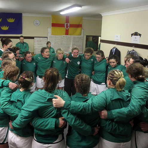 The Ireland players huddle together before the Wales game