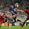 A slip from Sam Tuitupou gave Leinster's number 10 Isa Nacewa the chance to make the first real line-break