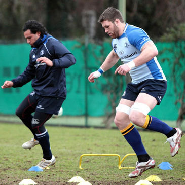 Isa Nacewa and Sean O'Brien training with the Leinster squad