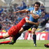 Leinster full-back Isa Nacewa is tackled side on by David Skrela, who kicked 10 points for Toulouse