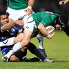 Connacht's stand-in captain Keith Matthews tries to scramble away from Isa Nacewa, who kicked eight points on the night