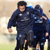 Leinster full-back Isa Nacewa is seen taking part in a training drill on the Thornfield pitch
