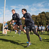 Luke Fitzgerald and Isa Nacewa take part in a training drill during Leinster's squad session at UCD