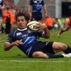 Full-back Isa Nacewa had to react quickly to collect a bouncing ball close to the Leinster try-line