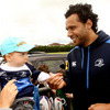 Meeting one of Leinster's youngest fans, Isa Nacewa made his TV pundit debut with Setanta Sports for the Scotland v Ireland match