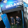Isaac Boss and Ireland captain Brian O'Driscoll are pictured making their way out towards the pitch at Carisbrook Stadium in Dunedin