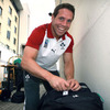 Isaac Boss does a final check on one of his bags as the players prepare for the journey south to Queenstown in New Zealand