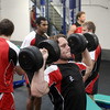The backs get to work on the weights, with scrum half Isaac Boss in the foreground