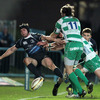 Treviso's Willem de Waal and Benjamin de Jager challenge Isaac Boss as he kicks the ball down the line