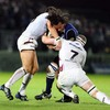 Leinster's out-half for the night Isa Nacewa is tackled by James Hook and Steve Tandy of the Ospreys