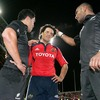Mils Muliaina and Joe Rokocoko commiserate with their former team-mate, Munster's Doug Howlett