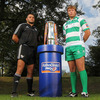 The Italian sides are embarking on their second season in the league competition. Aironi's Roberto Santamaria and Antonio Pavanello of Benetton Treviso are pictured with the new trophy