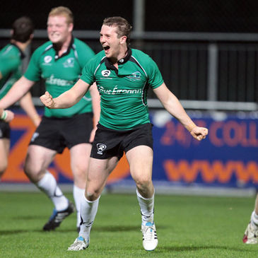 Jack Carty celebrating with the Connacht Under-20s