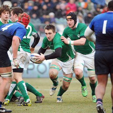 Jack Conan in possession for the Ireland Under-20s
