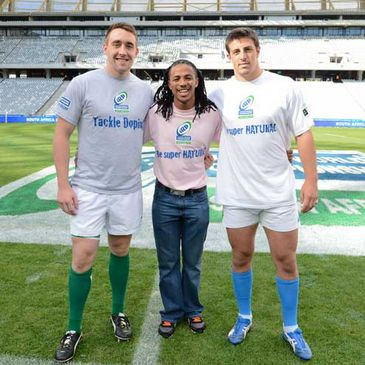 Ireland's Jack Conan with Cecil Afrika and Giovanni Maistri