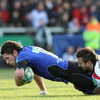 Ulster winger Simon Danielli, who played previously for Bath, cannot prevent Jack Cuthbert from scoring