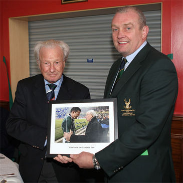 Jack Kyle with Ballynahinch President Alan Montgomery