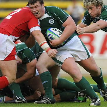 Jack McGrath takes the ball into contact against Wales