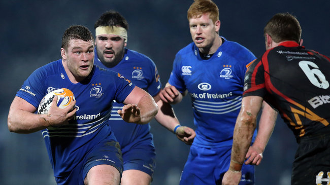 Leinster's Jack McGrath, Martin Moore and Tom Denton