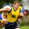Young prop Jack O'Connell, who is in his second year in the Leinster Academy, was tasked with lifting Ciaran Ruddock