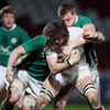 Ireland Under-20s forwards Rhys Ruddock and Jack O'Connell put England's Alex Gray under pressure