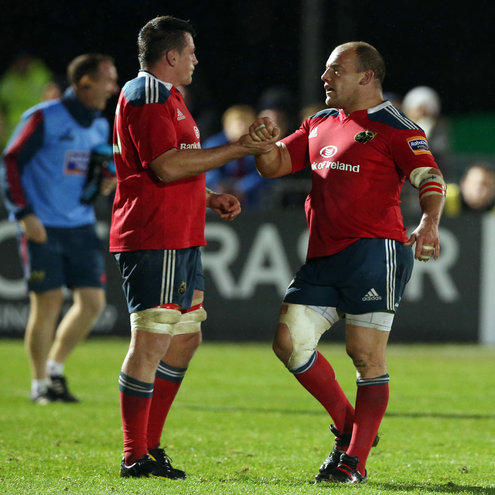 Munster's James Coughlan and BJ Botha