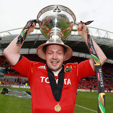 Munster's James Coughlan with the league trophy