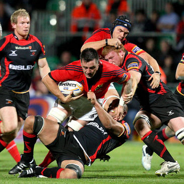 Man-of-the-match James Coughlan drives forward for Munster