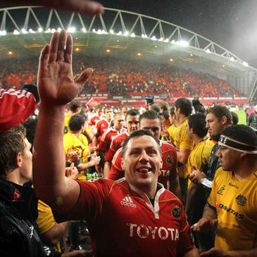 Munster captain James Coughlan celebrates with the fans
