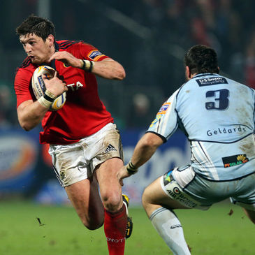 James Downey on the attack for Munster