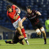 New Munster centre James Downey drives forward during the province's RaboDirect PRO12 opener against Edinburgh
