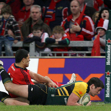 James Downey scores a try against Munster