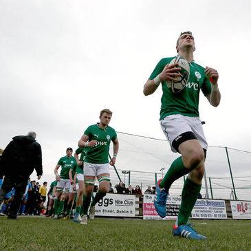James Nolan leads the Ireland Under-18 Clubs team out in Ashbourne
