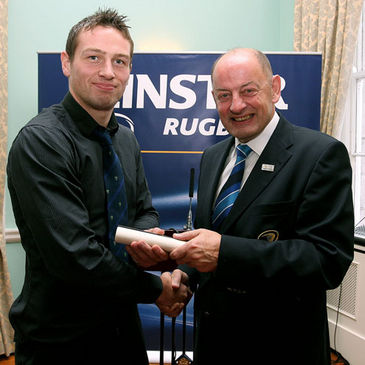 James Power receives his diploma from Leinster Branch President Des Lamont