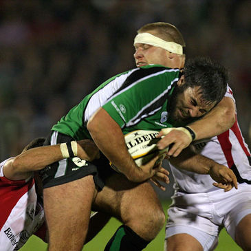 Connacht prop Jamie Hagan goes into contact against Ulster