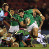 Connacht's tighthead prop Jamie Hagan bounds forward, with Harlequins' Ollie Kohn his immediate opponent