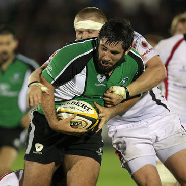 Connacht prop Jamie Hagan is tackled by Ulster's Tom Court