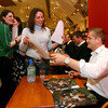 Jamie Heaslip is pictured signing autographs for fans at the Leinster players' meet and greet signing on Wednesday evening