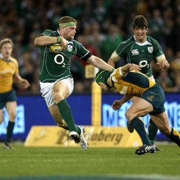 Ireland's Jamie Heaslip on the charge against Australia