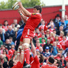 Munster lock Donncha O'Callaghan gets up to win a lineout ball ahead of Leinster's Jamie Heaslip