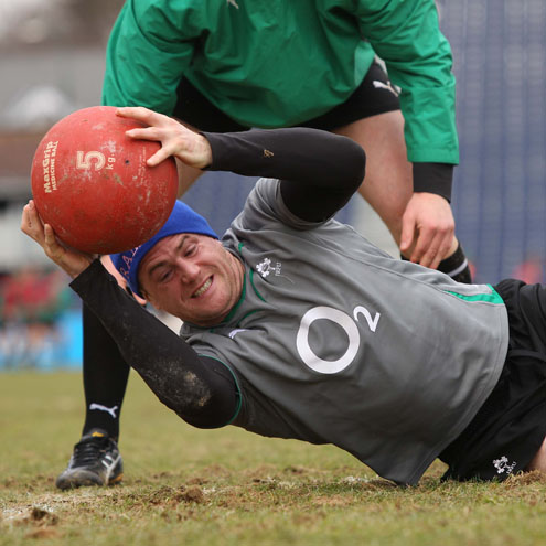 Jamie Heaslip trains with a medicine ball at the RDS