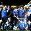 Jamie Heaslip shows off his moves at the Millennium Stadium as Cian Healy and Isaac Boss are sprayed with champagne