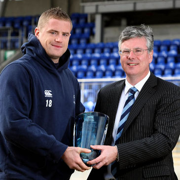 Jamie Healip with his Leinster Player of the Month award