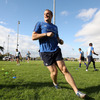 Jamie Heaslip takes part in a training drill, two days after captaining Leinster to a vital league win over Munster