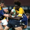 Wasps winger Paul Sackey has nowhere to go as Leinster's Jamie Heaslip and Luke Fitzgerald tackle him