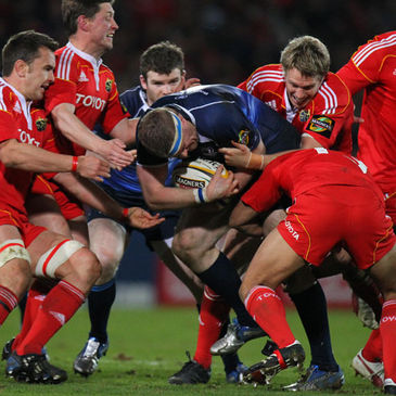 Jamie Heaslip drives forward against Munster last month
