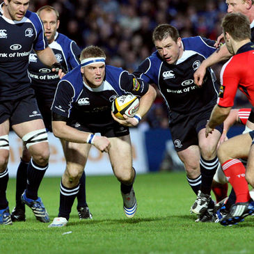 Leinster number 8 Jamie Heaslip in action against Munster