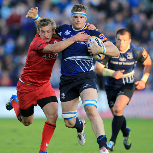Number 8 Jamie Heaslip in possession for Leinster