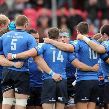 The Leinster players huddle together in Llanelli