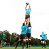 Consultant scrum coach Greg Feek looks on as number 8 Jamie Heaslip gathers a lineout ball at Carton House